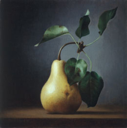 "still life oil painting ""pear"" by leah kristin dahlgren"