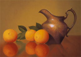 "still life oil painting ""oranges in reflection"" by leah kristin dahlgren"